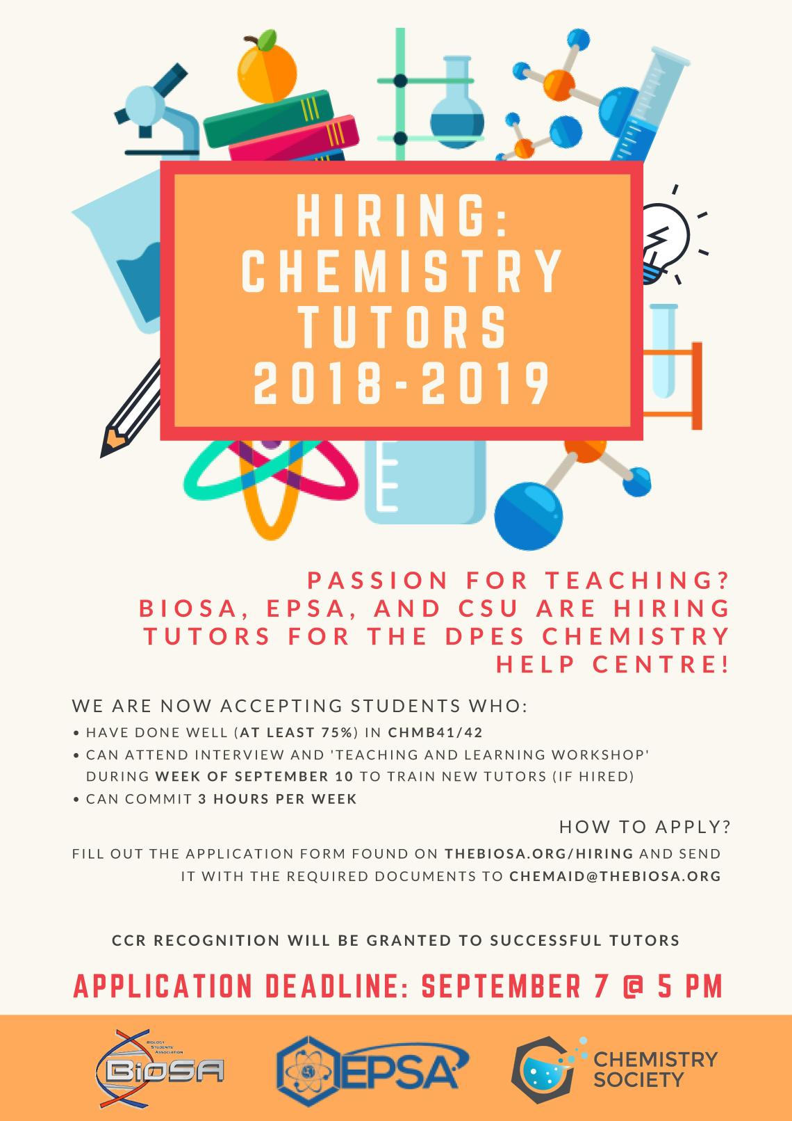 Chem Aid Tutor Hiring - FB and Poster