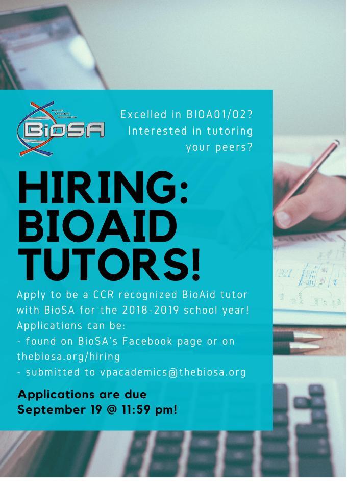 Bio Aid Hiring Poster - FB and Poster