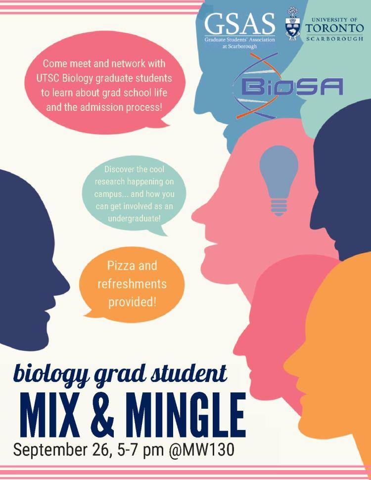 BioSA Grad Student Mix & Mingle - Facebook and Poster