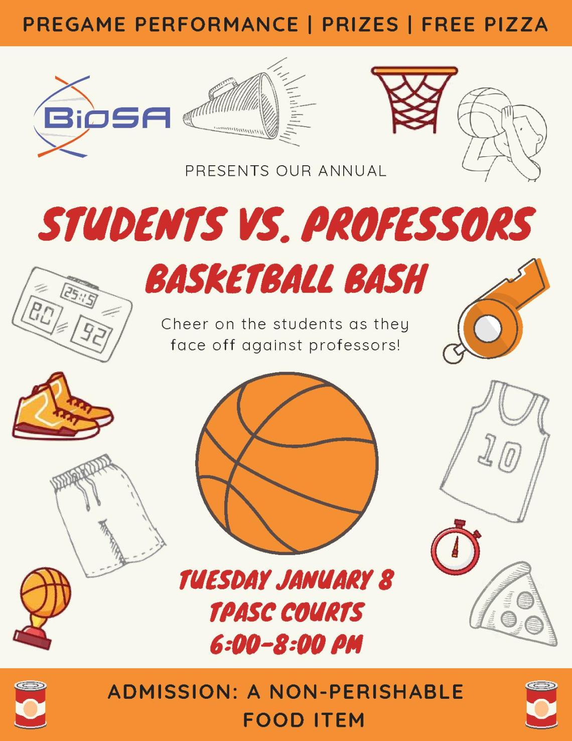 biosa students vs. professors basketball game - poster